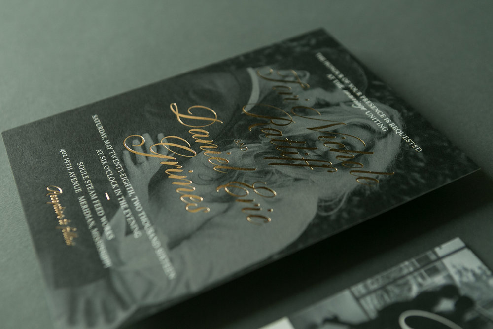 foil stamping and digital print on mohawk superfine