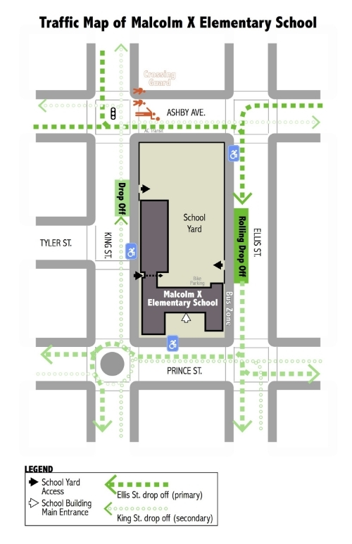 CLICK TO ENLARGE: Map showing rolling drop-off zones and traffic flow around Malcolm X Elementary School.