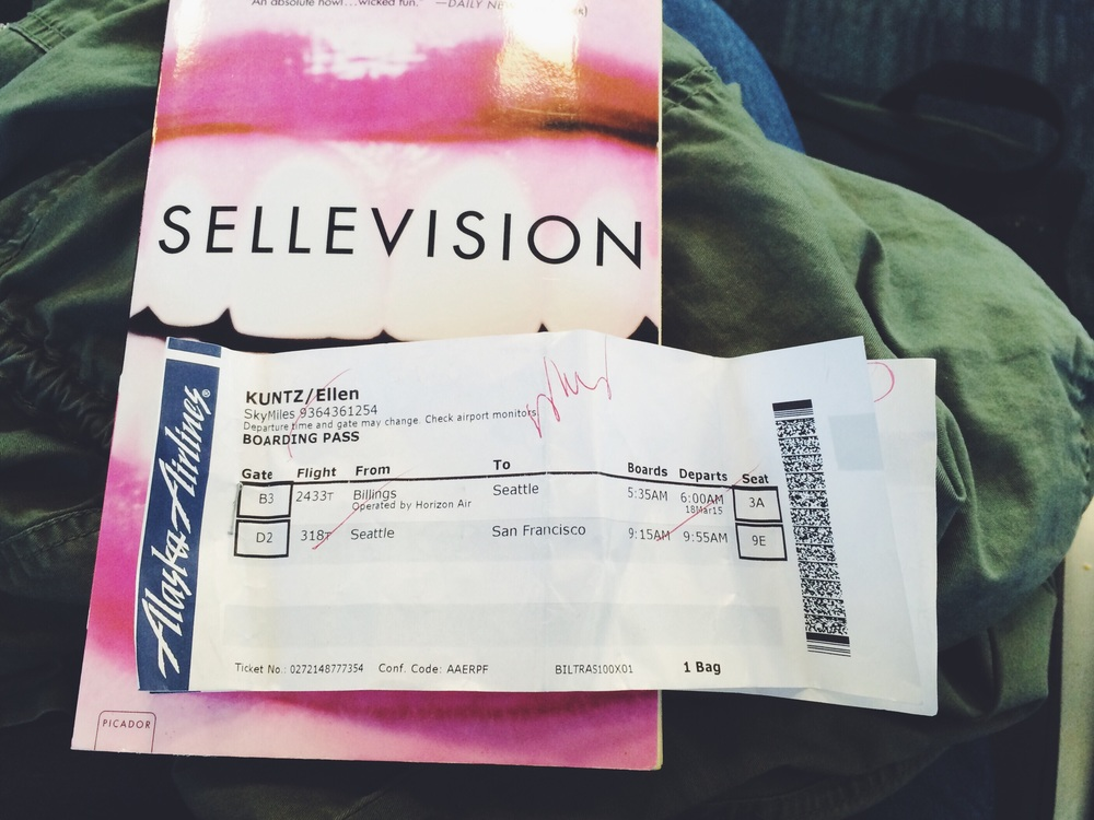 Heavily crinkled boarding pass and Sellevision by Augusten Burroughs (Thanks Mark!).