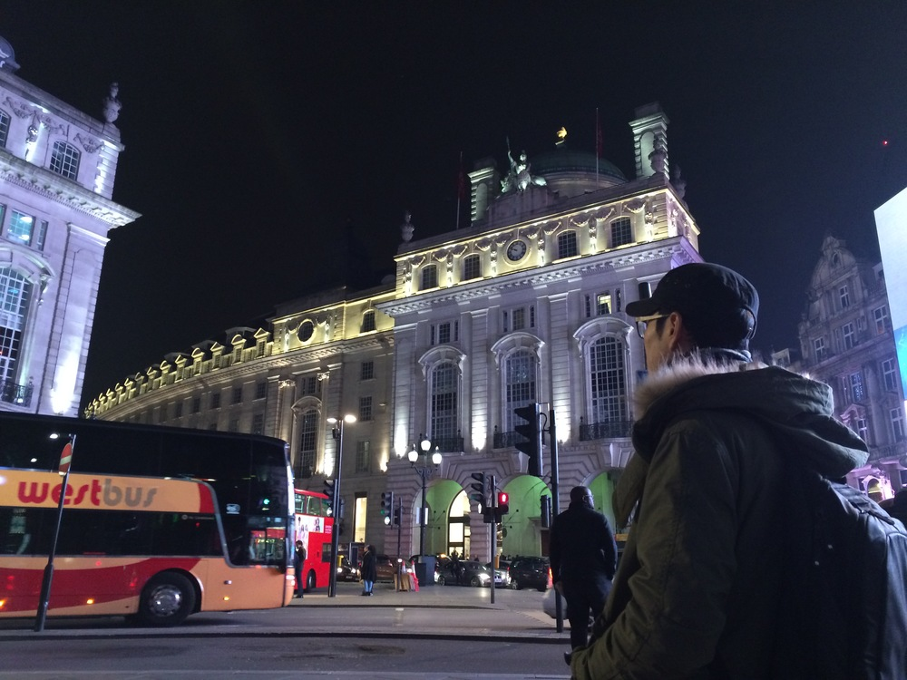 Tourist at Piccadilly Circus.