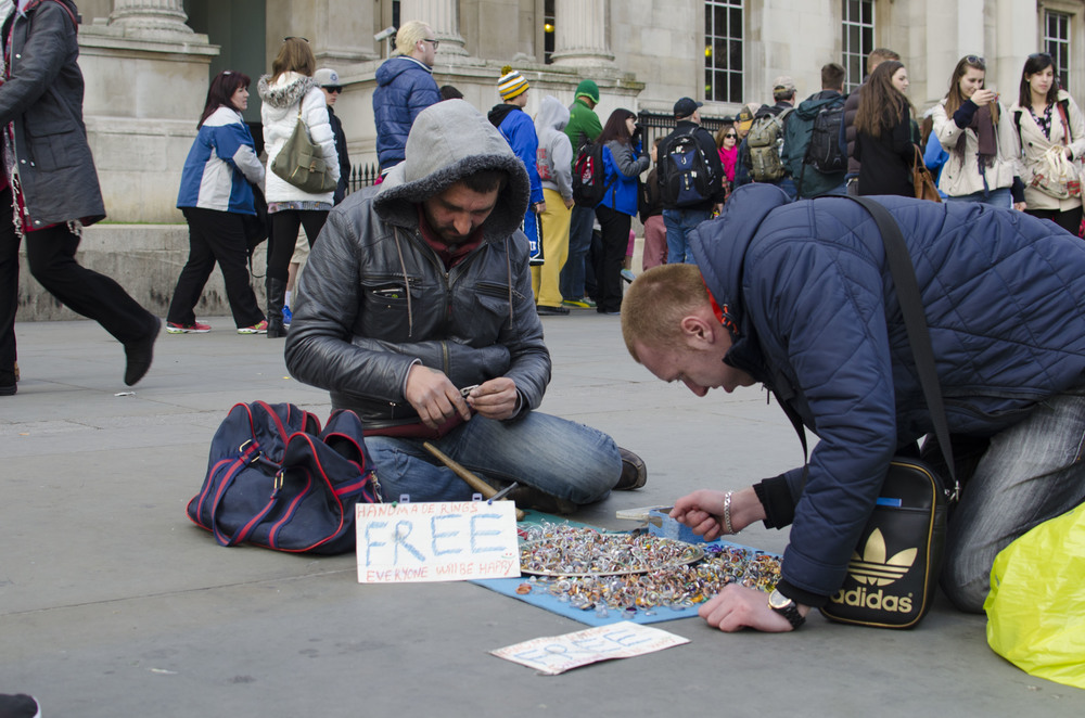 """Free Rings"" at Trafalgar Square."