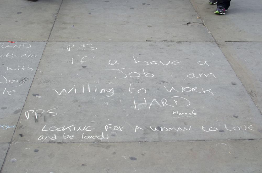 A section of sidewalk art at Trafalgar Square.