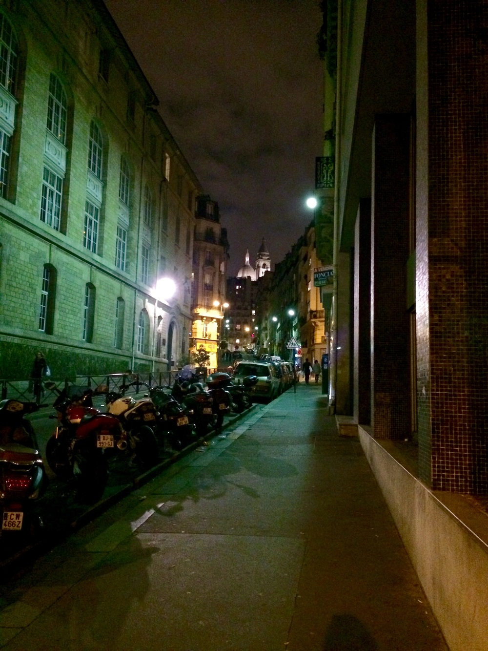 The corner of my street, and the nightly view of Sacre Coeur.
