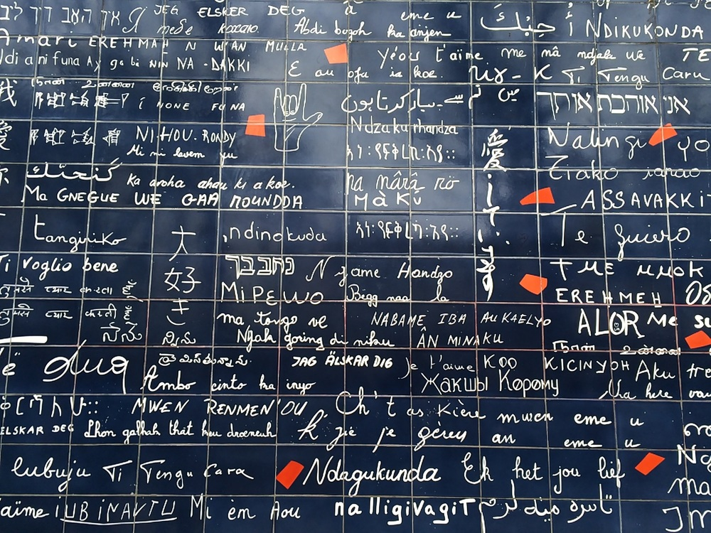 The Love Wall in Montmartre near Sacre Coeur.