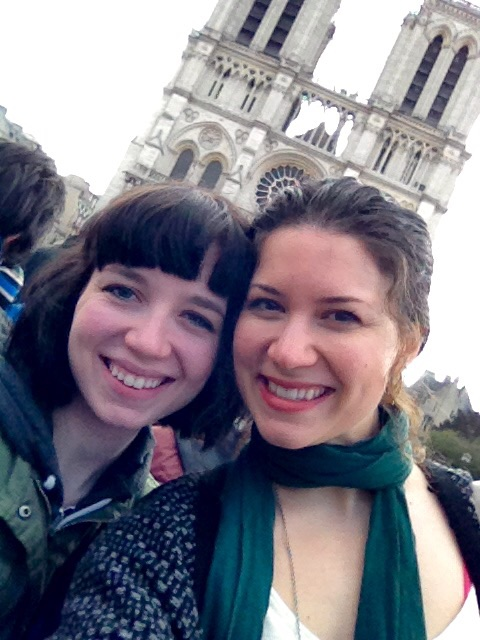 Mary  and I at Notre-Dame for Easter.  Mary  is a singer songwriter from LA who I met at Buckingham.