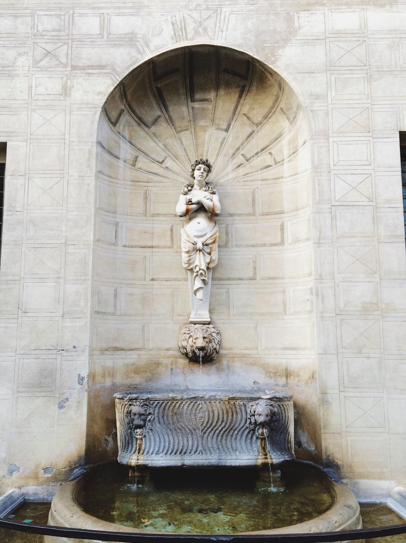 Fountains in little neighborhoods.