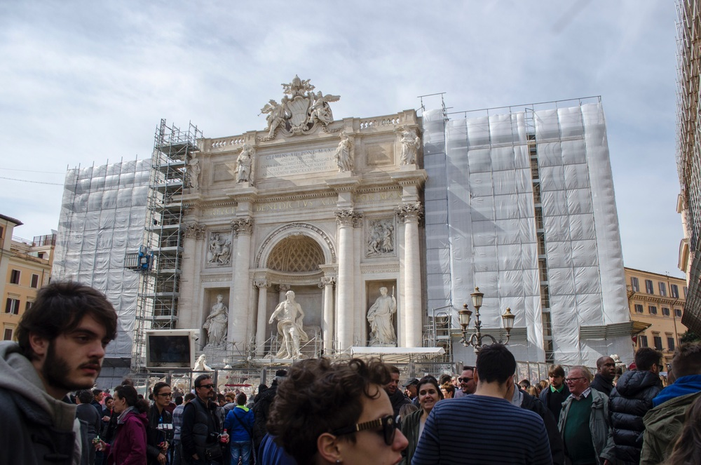 Trevi Fountain under construction.