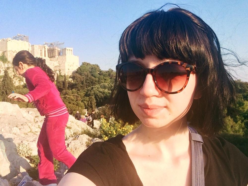 Selfie by Acropolis. The little girl is OK.