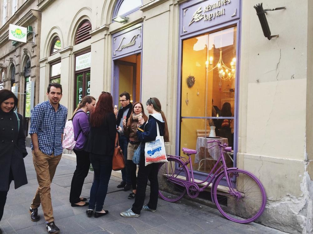 The dark chocolate lavender ice cream shop.