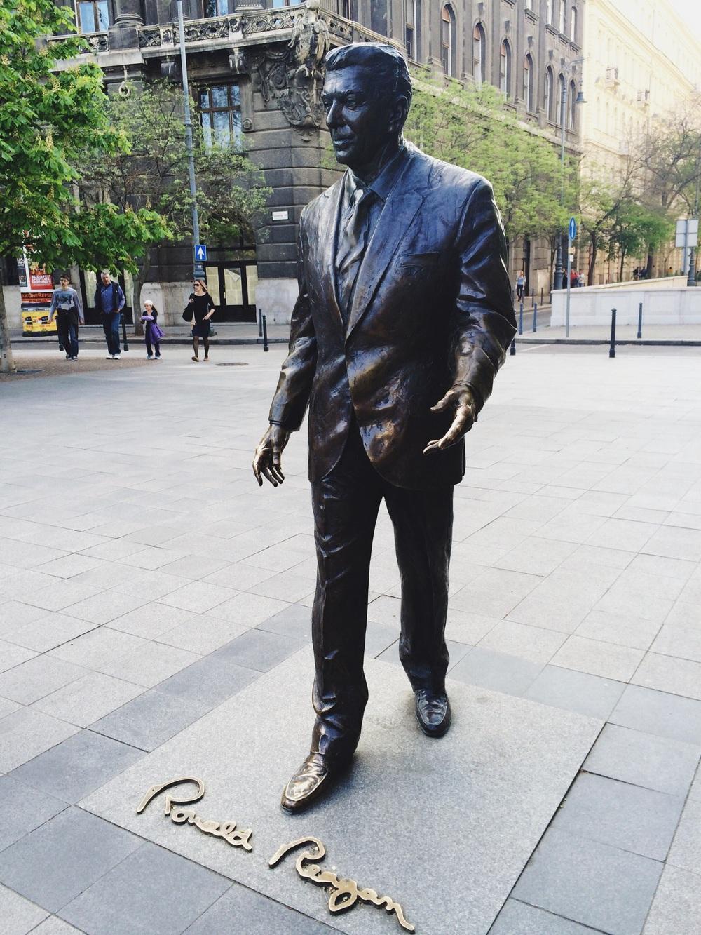 Ronald Reagan near the Soviet Monument.