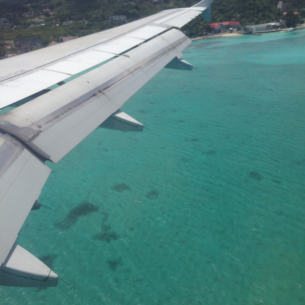 Flying into Montego Bay, Jamaica.