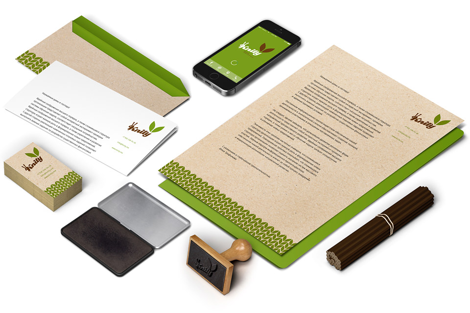 Фирменный стиль Knity: бланки, визитки, конверты, папка..