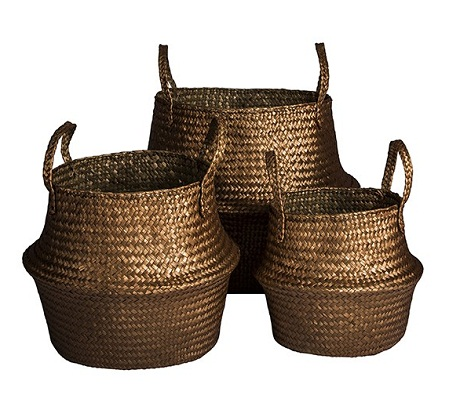 COPPER SEAGRASS BASKETS, SET OF THREE by House Envy