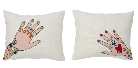 Cushions designed by Daisy de Villeneuve, £45 each