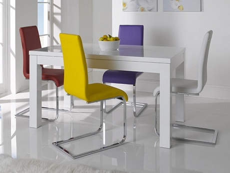 Galaxy White High Gloss Extending Dining Set from FADS