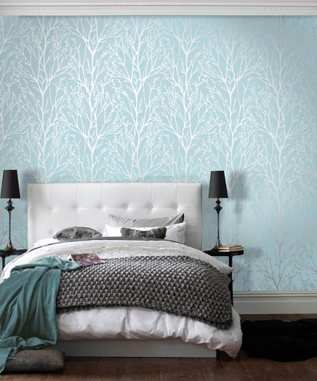 Bring some shimmer into your home this season heart home for Blue bedroom wallpaper