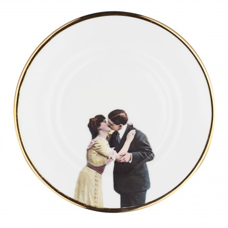 Kissing Couple Side Plate Melody Rose