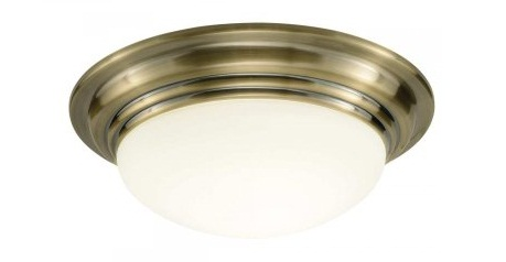 Mail Order lighting - Dar Lighting Barclay small flush bathroom ceiling fitting in antique brass