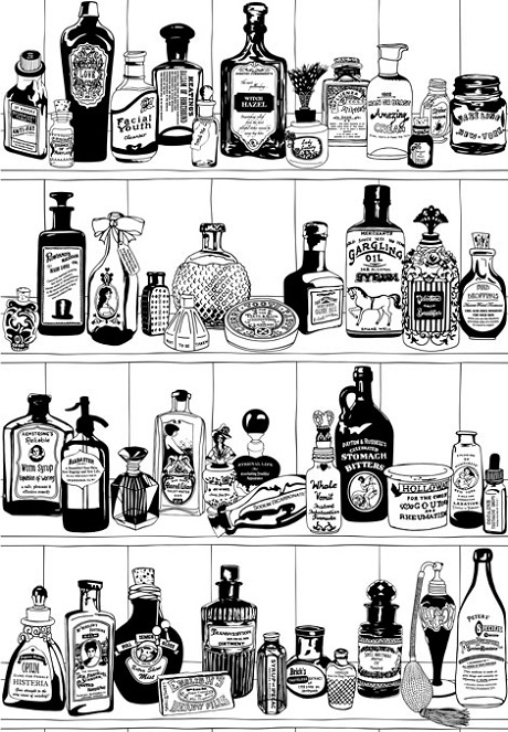 Potions Wallpaper B&W from Dupenny