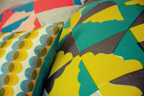 Screen printed cushions by Kangan Arora