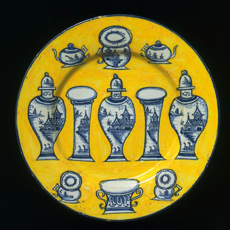 1750-75 Plate from Delft, V&A collection