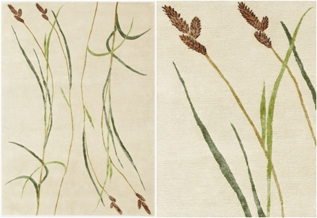 Botanical-inspired carpet by Deirdre Dyson - Hairy Sedge