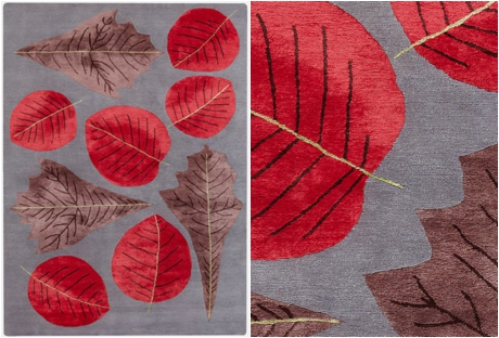 Botanical-inspired carpet by Deirdre Dyson - Autumn Leaves