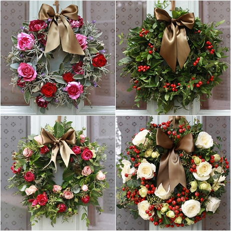 The Real Flower Company Christmas Door Wreaths