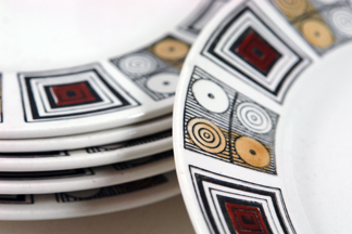 Rushstone Sandwich Plates by Kathie Winkle for Broadhurst Pottery