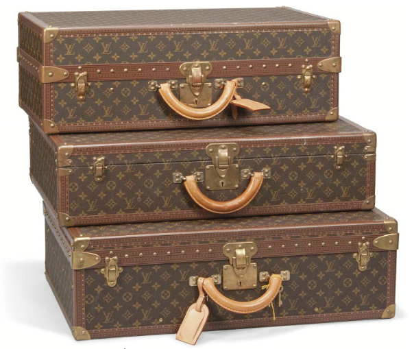 A SMALL GÉMINÉ SHOE CASE, AN ALZER SUITCASE AND A BISTEN SUITCASE IN MONOGRAM CANVAS
