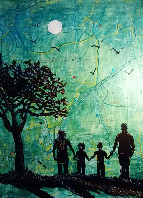 Affordable Art Online from Degree Art dotcom  -Family in Park