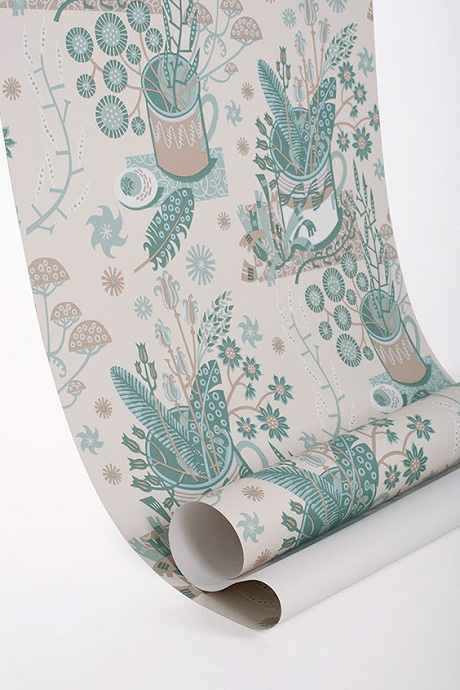 Angie Lewin's 'Nature Table' wallpaper via St Judes [2]