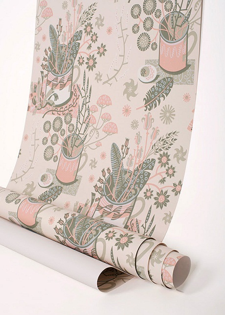 Angie Lewin's 'Nature Table' wallpaper via St Judes [3]