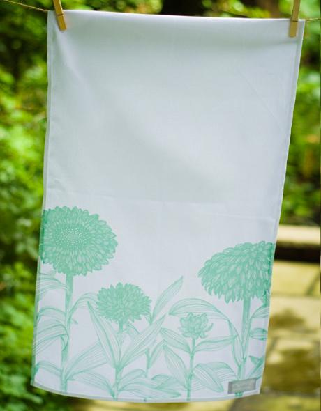 Aqua-Floral-Tea-Towel