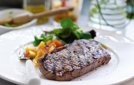 Barbecued Steak with Peach Relish Recipe via Ocado