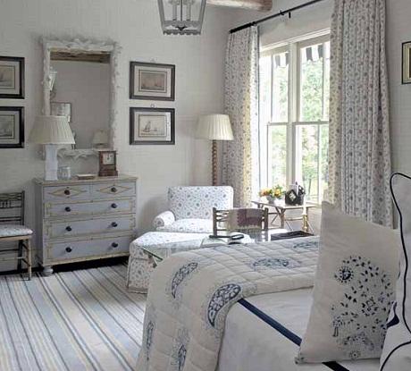 Bennison Fabrics - Osiris fabric on chair and curtains