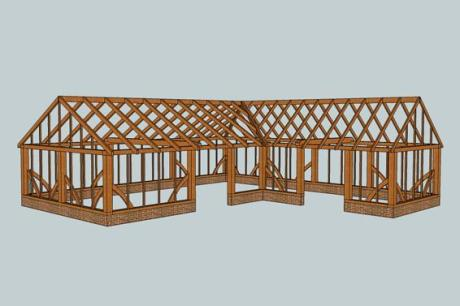 CAD drwg of bespoke garden office - Trade Oak Building Kirs