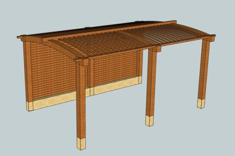CAD drwg of despoke pergola by Trade Oak Building Kits