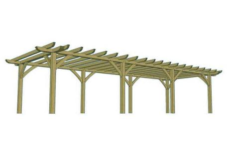 CAD drwg of standard 3 bay pergola - Trade Oak Building Kits