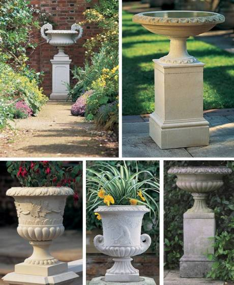 Cast stone urns by Haddonstone