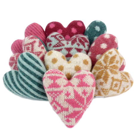 Catherine Tough knitted hearts