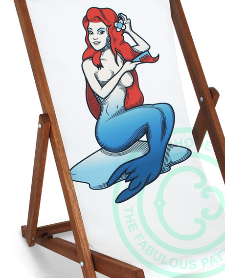 "Caxton Rhode 'Naughty-Cool' Deckchairs. ""Mermaid On The Rocks"""