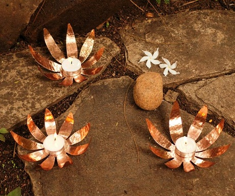 Copper sunflower tealight holders copy