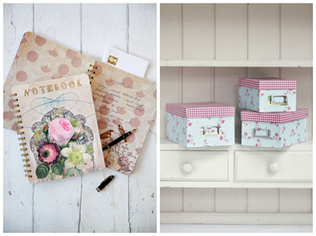 Cox & Cox flowers notebook and floral boxes