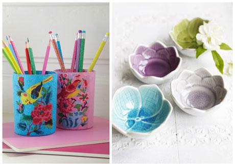 Cox & Cox bright bird glass holders and pretty coloured bowls