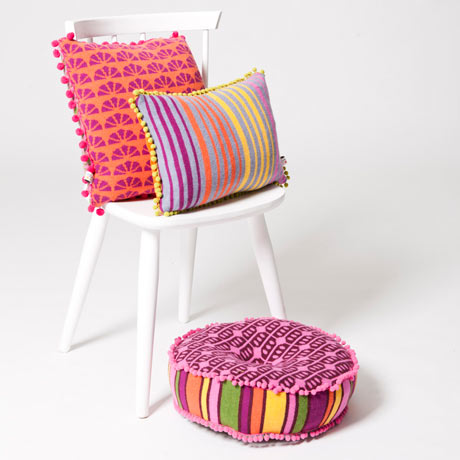 Deryn Relph Retro Rainbow cushions core