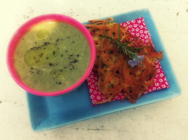 Green Leaf and Pea Soup & Spaghetti Fritters