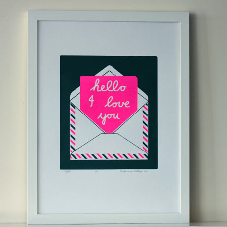 Hello-Silkscreen-Print---Moss-&-Neon-Pink