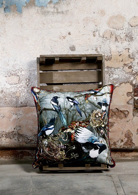 Limelace.co.uk MAGPIE'S PARADISE LARGE CUSHION