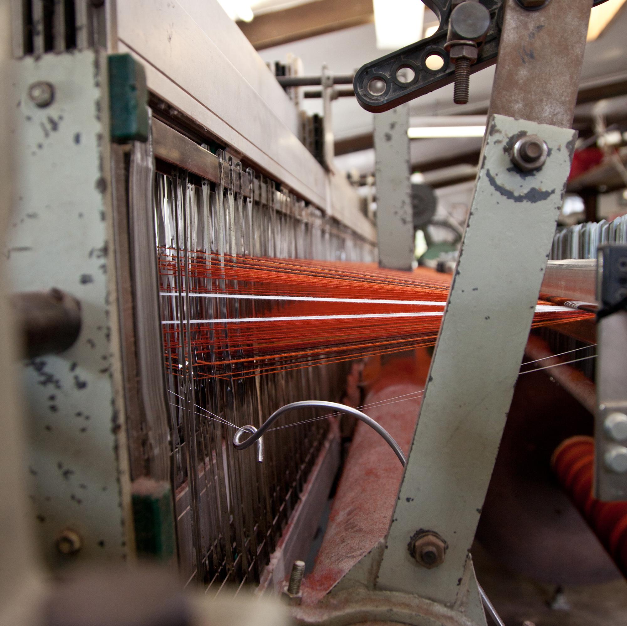 Loom With Orange Weave from Melin Tregwynt